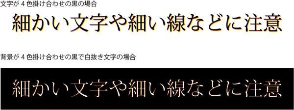 リッチブラックなどのCMYK4色を掛け合わせて作成された黒を、細かい文字や細い線などに使用するとにじんだように見え、読みづらくなる可能性があります。