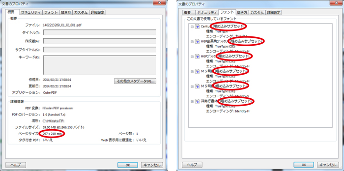 概要のタブでサイズを確認し、フォントのタブで全てフォントが「埋め込みサブセット」になっているかどうかを確認。