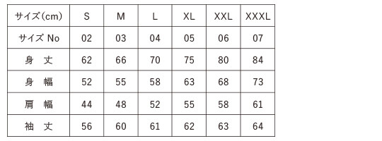 商品サイズチャート