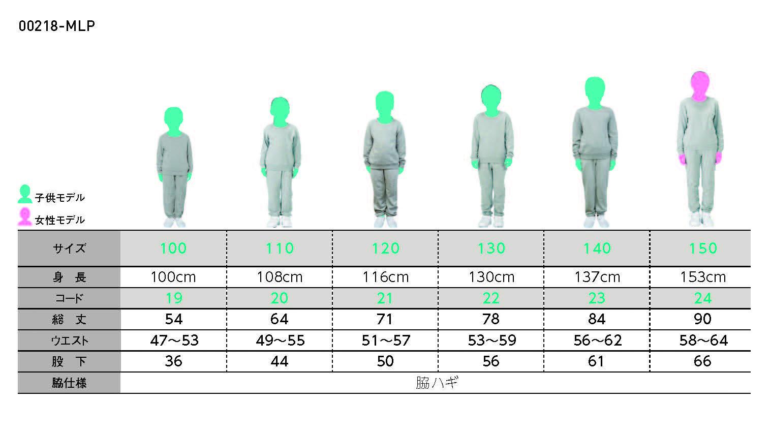 8.4オンス ライトスウェットパンツ(キッズサイズ)のサイズチャート
