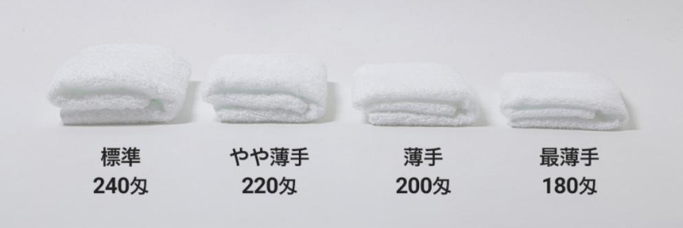 タオルの厚みの参考イメージ