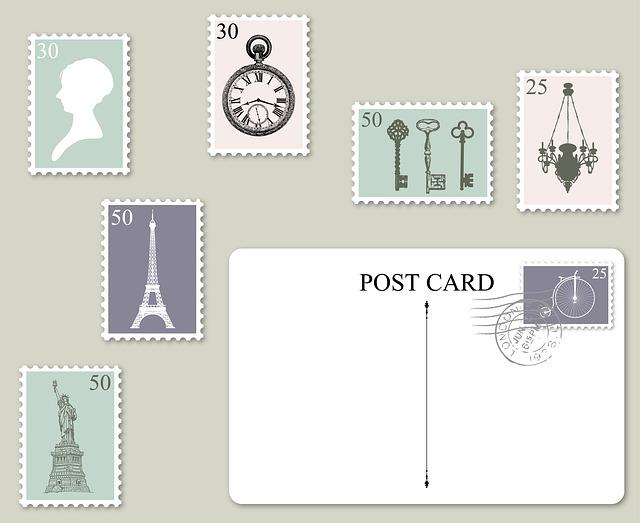 切手やポストカードのイラスト